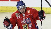 Jakub Petružálek se raduje z gólu proti Rusku v duelu EHT v Brně.