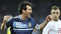 Lionel Messi oslavuje gól proti Švýcarsku
