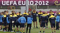 Fotbalisté Ukrajiny na tréninku