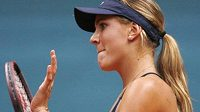 Reakce Nicole Vaidišové při fedcupovém utkání se Slovenkou Dominikou Cibulkovou.