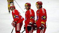 Hokejisté HC Mountfield Milan Michálek (uprostřed) a Martin Hanzal (vpravo).