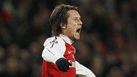 Tomáš Rosický z Arsenalu se raduje z branky do sítě AC Milán.