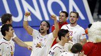 Házenkáři Dánska oslavují výhru nad Španělskem a postup do finále ME v Srbsku.