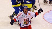 Petr Průcha se raduje z gólu, který vstřelil po pěti vteřinách Švédsku v duelu Channel One Cupu v Chomutově.