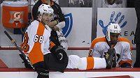 Jaromír Jágr na střídačce Philadelphia Flyers