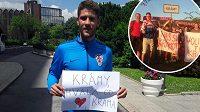 Chorvat Andrej Kramarič na dálku děkuje svému fanklubu na Příbramsku.