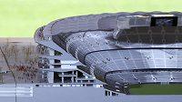 Průřez modelem zrekonstruovaného stadiónu Barcelony Camp Nou.