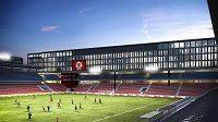 Návrh přestavby Stadionu Letná podle architektonické kanceláře Pelčák a Partner Architekti.