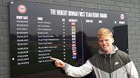 Jan Žambůrek ukazuje na datum svého debutu v A-týmu Brentfordu.
