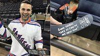 Fanoušek NY Rangers Nick Lipeika s hokejkou od kapitána Pittsburghu Sidneyho Crosbyho.