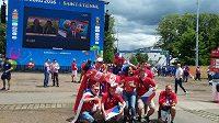 Čeští příznivci v Saint Étienne před zápasem ME proti Chorvatsku.