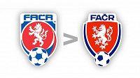 Staré (vlevo) a nové logo Fotbalové asociace České republiky (FAČR).