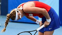 Zoufalá Petra Kvitová ve druhém kole olympijského turnaje.