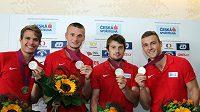 Stříbrná česká štafeta z mistrovství Evropy do 23 let, zleva Jan Jirka, Michal Desenský, Zdeněk Stromšík a Marcel Kadlec.