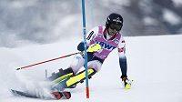 Francouz Clement Noël ve slalomu Světového poháru ve švýcarském Wengenu.