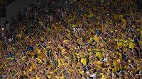 Fanoušci Švédska slaví finálové vítězství nad Portugalskem.