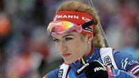 Gabriela Koukalová před tím, že pro ni začal štafetový závod v Ruhpoldingu