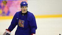 Jaromír Jágr na tréninku hokejové reprezentace