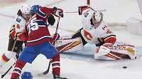 Brankář Calgary Flames David Rittich v akci.