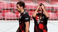 Reakce fotbalisty Bayernu Thomas Müllera během utkání s Mohučí.
