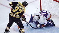 Patrice Bergeron oslavil 1000. start v dresu Boston Bruins. Jubilejní večer okořenil dvěma góly i díky Davidu Pastrňákovi.