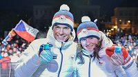 Přivítání úspěšných olympioniků s ohňostrojem v Jablonci nad Nisou. Na snímku jsou biatlonisté Veronika Vítková a Michal Krčmář.