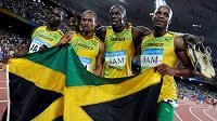 Jamajská štafeta 4x100m Asafa Powell, Usain Bolt, Michael Frater, Nesta Carter na OH v Pekingu 2008.