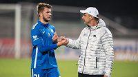 Trenér Slovanu Liberec Jindřich Trpišovský a Nikolaj Komličenko po utkání na Julisce.