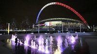 Londýnský stadión Wembley v předvečer přátelského utkání Anglie - Francie.