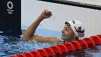 Česká plavkyně Barbora Seemanová se raduje z postupu do finále olympijských her v Tokiu na trati 200 m volným způsobem.