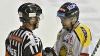 Litvínovský útočník Jakub Petružálek diskutuje s rozhodčím během utkání hokejové extraligy.