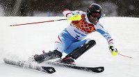 Rakušan Mario Matt na trati olympijského slalomu.