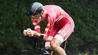 Dánský cyklista Mathias Norsgaard v akci na světovém šampionátu v cyklistice v Yorkshire.
