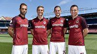 Fotbalisté Sparty (zleva) Marco Paixao, Bořek Dočkal, Mario Holek a David Lafata v nových dresech před startem sezóny 2015/2016.