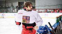 Michal Birner během tréninku hokejové reprezentace v rámci přípravy na ZOH.