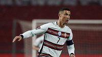 Portugalský fotbalista Cristiano Ronaldo během utkání se Srbskem v rámci kvalifikace o MS ve fotbale 2022.