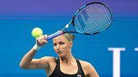 Česká tenistka Karolína Plíškova během zápasu čtvrtfinále US Open proti Marii Sakkariové z Řecka.