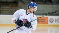 Andrej Nestrašil během tréninku hokejové reprezentace před turnajem Karlaja.
