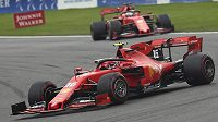 Charles Leclerc s ferrari při GP Belgie.