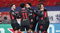 Gólová radost hráčů Liverpoolu v osmifinále Ligy mistrů proti Lipsku.
