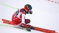 Rakouský lyžař Marcel Hirscher na trati 1. kola závodu Světového poháru v obřím slalomu v italské Alta Badii.