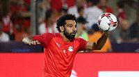 Egyptský fotbalista Mohamed Salah na mistrovství Afriky září.