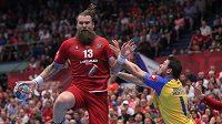 Pavel Horák z České republiky, Ivan Karačič z Bosny a Hercegoviny během utkání