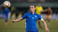 Lukáš Pokorný ze Slovanu Liberec v utkání s Duklou.