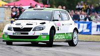 Rallye Český Krumlov, druhý závod mezinárodního mistrovství ČR v automobilových soutěžích. Na snímku jsou Jan Kopecký a jeho spolujezdec Pavel Dresler.