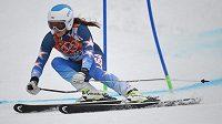 Americká olympijská vítězka v obřím slalomu Julia Mancusová během závodu na OH v Soči.