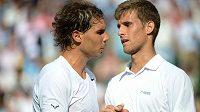 Martin Kližan (vpravo) po utkání s Rafaelem Nadalem.
