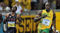 Usain Bolt z Jamajky (vpravo) už nedokáže Američana Tysona Gaye (vlevo) respektovat.
