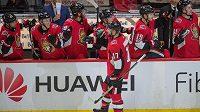 Hokejisté Ottawy se radují z gólu - ilustrační foto.