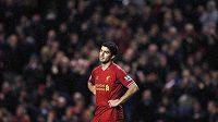 Kanonýr Liverpoolu Luis Suárez v duelu s Hullem.